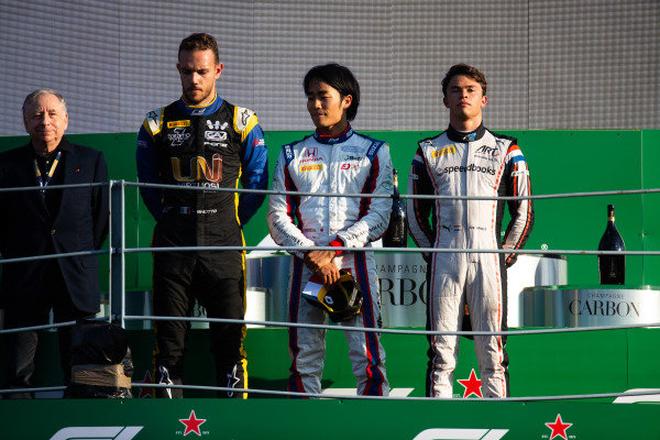 AUTODROMO NAZIONALE MONZA, ITALY - SEPTEMBER 07: Nobuharu Matsushita (JPN, CARLIN) Nyck De Vries (NLD, ART GRAND PRIX) and Luca Ghiotto (ITA, UNI VIRTUOSI) during the Monza at Autodromo Nazionale Monza on September 07, 2019 in Autodromo Nazionale Monza, Italy. (Photo by Joe Portlock / LAT Images / FIA F2 Championship)