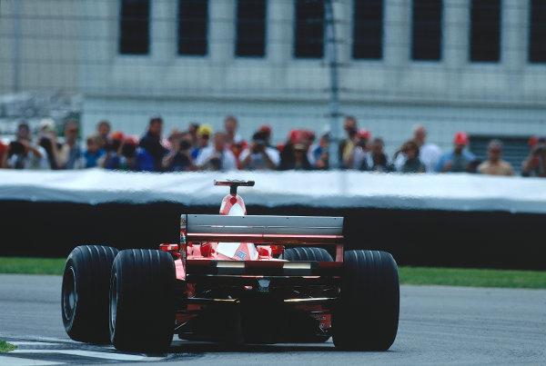 2000 United States Grand Prix.Indianapolis, Indiana, USA. 22-24 September 2000.Michael Schumacher (Ferrari F1-2000) 1st position.Ref-2K USA 61.World Copyright - LAT Photographic