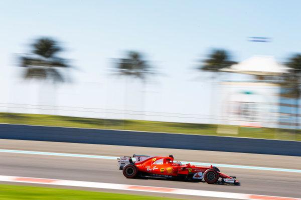 Yas Marina Circuit, Abu Dhabi, United Arab Emirates. Wednesday 29 November 2017. Sebastian Vettel, Ferrari SF70H. World Copyright: Joe Portlock/LAT Images  ref: Digital Image _R3I5091