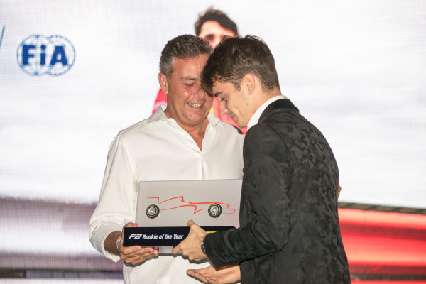 2017 Awards Evening. Yas Marina Circuit, Abu Dhabi, United Arab Emirates. Sunday 26 November 2017. Charles Leclerc (MCO, PREMA Racing).  Photo: Zak Mauger/FIA Formula 2/GP3 Series. ref: Digital Image _56I3804