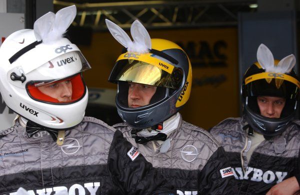 2005 DTM ChampionshipHockenheim, Germany. 21st - 23rd October 2005.Laurent Aiello's Opel pit crew added PlayBoy accessories to their helmets this weekend.  World Copyright: Andre Irlmeier/LAT Photographicref: Digital Image Only