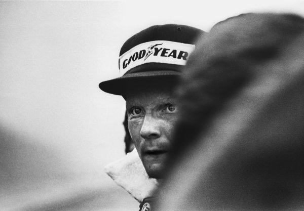 Fuji, Japan. 22nd - 24th October 1976. Niki Lauda (Ferrari 312T2) withdraws after 2 laps from the Japanese Grand Prix of his own free will, because the driving conditions were atrocious in the wet. This meant that he would lose the drivers World Championship by a single point, portrait.  World Copyright: LAT Photographic Ref: 76 JAP BW NL.