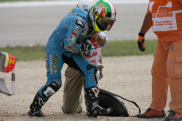 San Marino Misano 03-05 September 2010Loris Capirossi Rizla Suzuki in pain after his crash