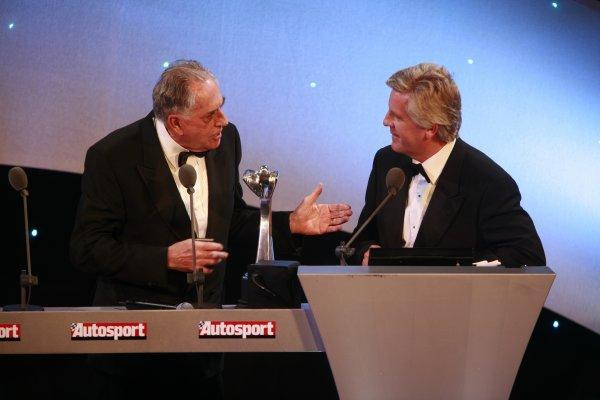 2006 Autosport AwardsGrosvenor House Hotel, London. 3rd December 2006.Sir Jack Brabham talks to Steve Rider on the stage.World Copyright: Malcolm Griffiths/LAT Photographicref: Digital Image _MG_2363