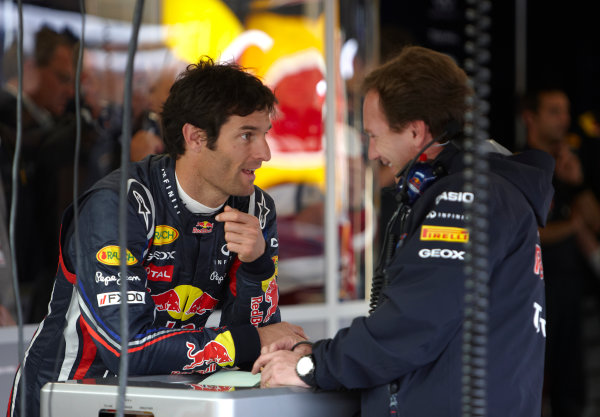 Silverstone, Northamptonshire, England 8th July 2011 Mark Webber, Red Bull Racing RB7 Renault, with Christian Horner, Team Principal, Red Bull Racing. Portrait.  World Copyright: Steve Etherington/LAT Photographic ref: Digital Image SNE21345