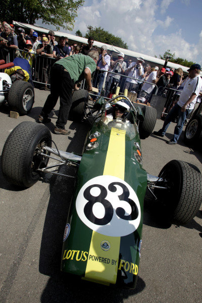 Dario Franchitti (GBR) Lotus 38. The Lotus 38 was the first mid-engined car to win the Indy 500 in 1965 driven by Jim Clark. Goodwood Festival of Speed, Goodwood House, Sussex, England, 1-3 July 2011.