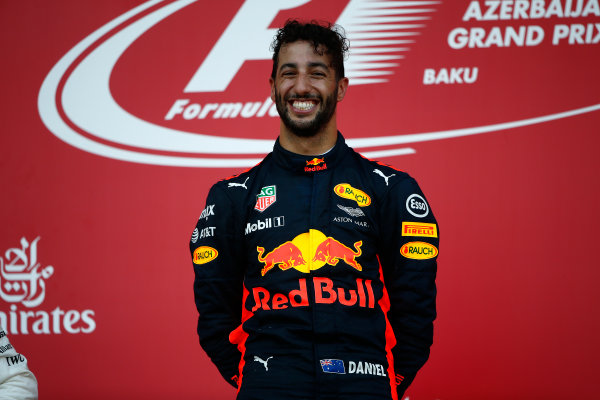 Baku City Circuit, Baku, Azerbaijan. Sunday 25 June 2017. Daniel Ricciardo, Red Bull Racing, 1st Position, on the Podium. World Copyright: Andrew Hone/LAT Images ref: Digital Image _ONY8981