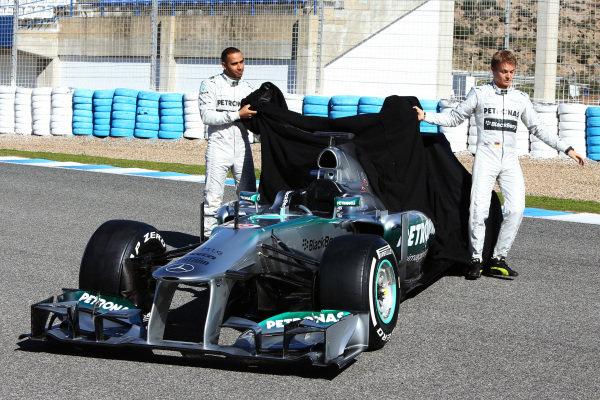 Lewis Hamilton (GBR) Mercedes AMG F1 and Nico Rosberg (GER) Mercedes AMG F1 unveil the new Mercedes AMG F1 W04. Mercedes AMG F1 W04 Launch, Jerez, Spain, Monday 4 February 2013.