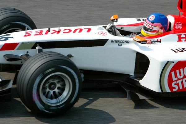 2003 San Marino Grand Prix - Saturday 2nd Qualifying,Imola, Italy.19th April 2003.Jacques Villeneuve, BAR Honda 005, action.World Copyright LAT Photographic.ref: Digital Image Only.
