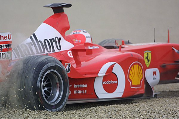 2003 San Marino Grand Prix - Saturday 2nd Qualifying,Imola, Italy.19th April 2003.Rubens Barrichello, Ferrari F2002, goes off into the gravel on his qualifying lap.World Copyright LAT Photographic.ref: Digital Image Only.
