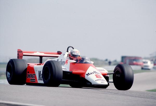 1982 Dutch Grand Prix.Zandvoort, Holland.1-3 July 1982.Niki Lauda (McLaren MP4/1B Ford) 4th position.Ref-82 HOL 74.World Copyright - LAT Photographic