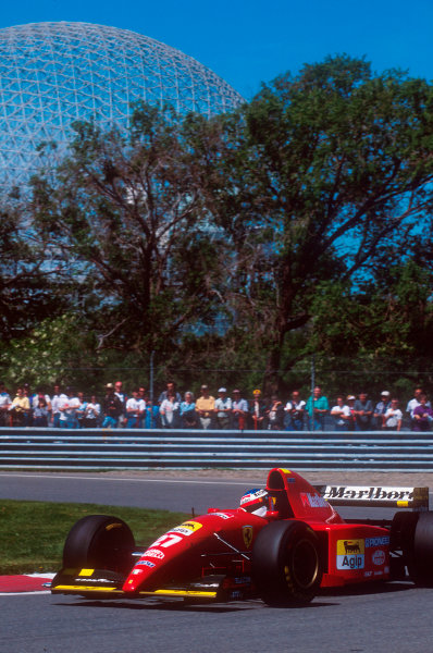 Montreal, Quebec, Canada.9-11 June 1995.Jean Alesi (Ferrari 412T2) 1st position for his maiden Grand Prix win.Ref-95 CAN 10.World Copyright - LAT Photographic