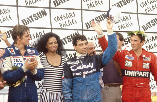Las Vegas, Nevada, USA.23-25 September 1982.Michele Alboreto (Tyrrell Ford) 1st position, John Watson (McLaren Ford) 2nd position and Eddie Cheever (Ligier Matra) 3rd position on the podium, with singer Diana Ross.Ref-82 LV 01.World Copyright - LAT Photographic