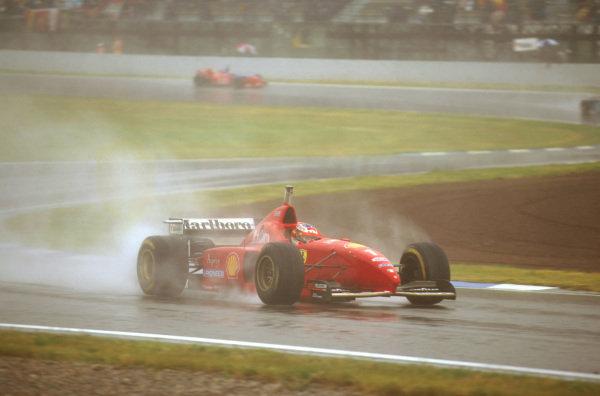 Catalunya, Barcelona, Spain.31/5-2/6 1996.Michael Schumacher (Ferrari F310) 1st position.Ref-96 ESP 03.World Copyright - LAT Photographic