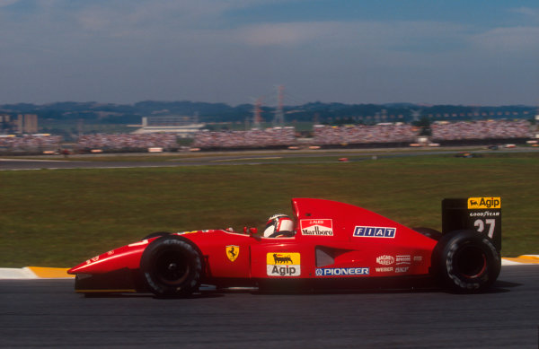 1992 Brazilian Grand Prix.Interlagos, Sao Paulo, Brazil.3-5 April 1992.Jean Alesi (Ferrari F92A) 4th position.Ref-92 BRA 11.World Copyright - LAT Photographic