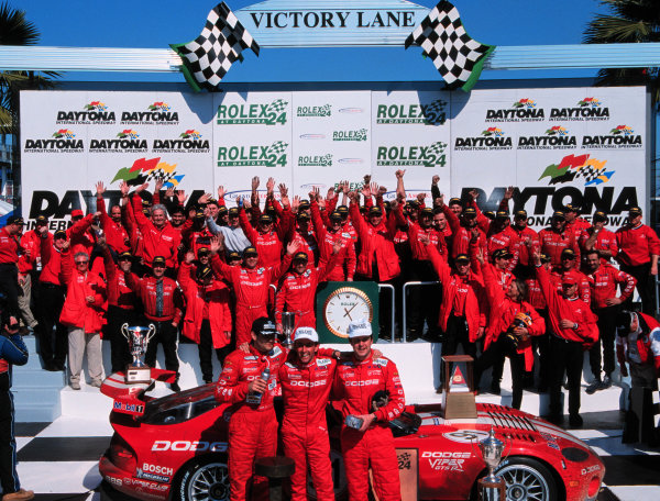 2000 Rolex 24 at Daytona. February 5-6, 2000Daytona International Speedway, Florida USA.Wendlinger, Beretta, Dupuy, and the Oreca team celebrate-2000, Michael L. Levitt, USALAT PHOTOGRAPHIC