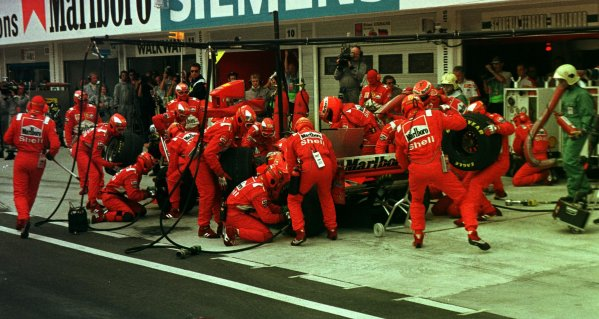 1998 Hungarian Grand Prix. Hungaroring, Budapest, Hungary. 14-16 August 1998. Michael Schumacher (Ferrari F300) 1st position. World Copyright - Steve Etherington/LAT Photographic
