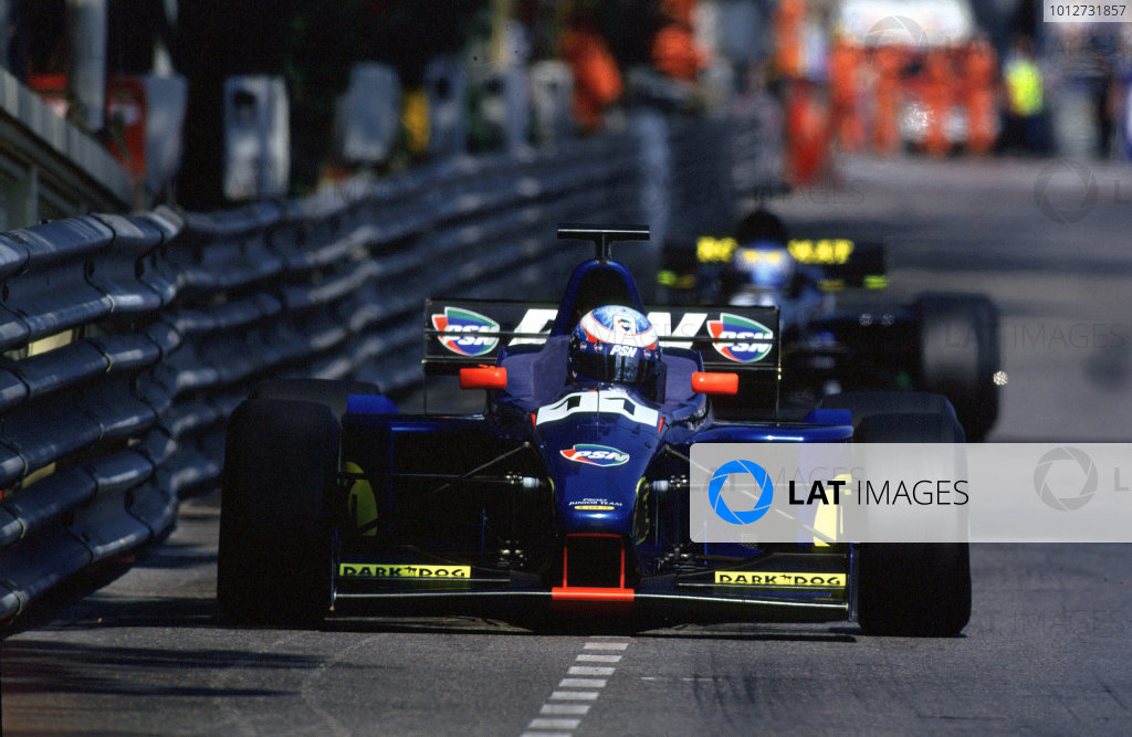 2001 F3000 ChampionshipMonte Carlo, Monaco. 26th May 2001Stephane Sarrazin (Prost Junior) leads Sebastien Bourdais (DAMS) as they battle for 3rd and 4th position.World Copyright: Clive Rose / LAT Photographicref: 35mm Image A13