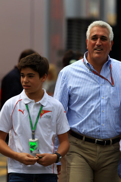 Lawrence Stroll (CDN) Mont Tremblant Race Circuit Owner with son Lance Stroll (CDN). Formula One World Championship, Rd5, Spanish Grand Prix, Race Day, Barcelona, Spain, Sunday 13 May 2012.