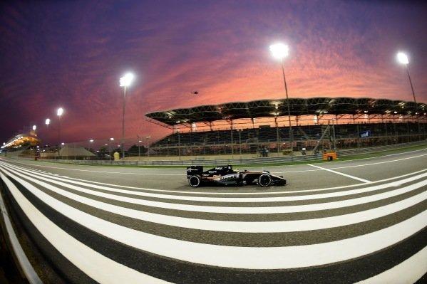 Sergio Perez (MEX) Force India VJM09 at Formula One World Championship, Rd2, Bahrain Grand Prix Practice, Bahrain International Circuit, Sakhir, Bahrain, Friday 1 April 2016. BEST IMAGE