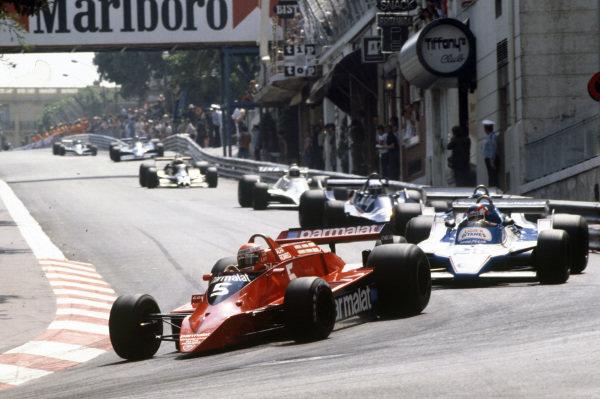 Niki Lauda, Brabham BT48 Alfa Romeo leads Patrick Depailler, Ligier JS11 Ford, Jacques Laffite, Ligier JS11 Ford and Didier Pironi, Tyrrell 009 Ford.