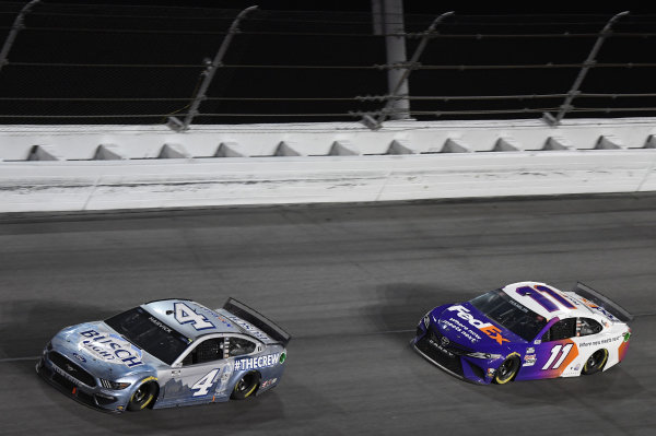 #4: Kevin Harvick, Stewart-Haas Racing, Ford Mustang Busch Light #TheCrew, #11: Denny Hamlin, Joe Gibbs Racing, Toyota Camry