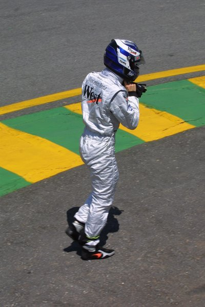 2002 Brazilian Grand Prix - Friday PracticeInterlagoes, Sao Paulo. 29th March 2002Kimi Raikkonen (McLaren Mercedes). World Copyright - LAT Photographicref: Digital File Only