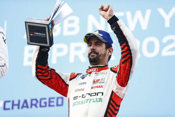 Lucas Di Grassi (BRA), Audi Sport ABT Schaeffler, 3rd position, on the podium with his trophy