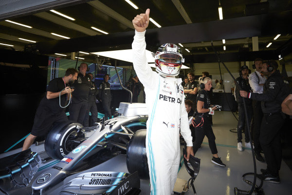 Lewis Hamilton, Mercedes AMG F1, waves from the garage