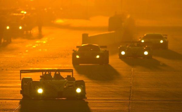 14 -17  March 2007, Sebring International Raceway, Sebring, FLPenske Porsche RS Spyder leads pack at sunset.© 2007, Richard Dole, USALAT Photographic