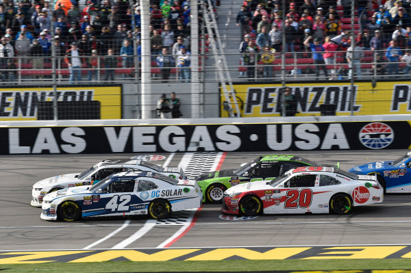 NASCAR Xfinity Series Boyd Gaming 300 Las Vegas Motor Speedway, Las Vegas, NV USA Saturday 3 March 2018 Kyle Larson, Chip Ganassi Racing, Chevrolet Camaro DC Solar and Christopher Bell, Joe Gibbs Racing, Toyota Camry Rheem-Smurfit Kappa World Copyright: Nigel Kinrade NKP / LAT Images
