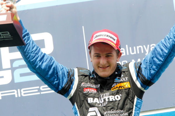 Circuit de Catalunya, Spain. 9th May 2010. Sunday Race.Fabio Leimer (SUI, Ocean Racing Technology) celebrates his victory on the podium. Photo: Andrew Ferraro/GP2 Media Service.Ref: _Q0C3156 jpg