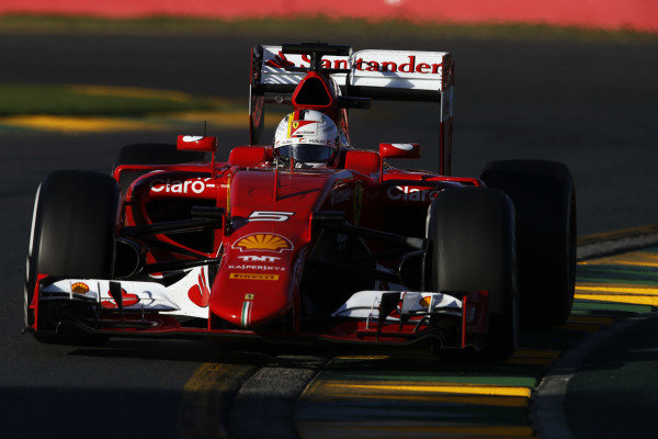 Albert Park, Melbourne, Australia. Friday 13 March 2015. Sebastian Vettel, Ferrari SF-15T. World Copyright: Charles Coates/LAT Photographic. ref: Digital Image
