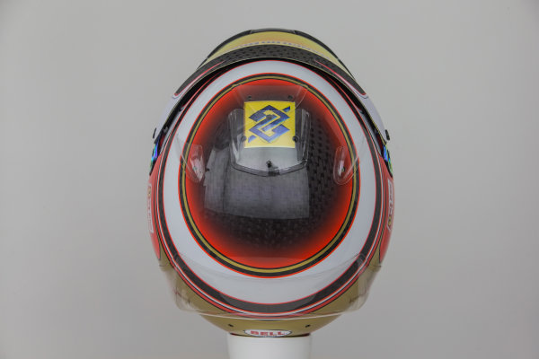 Hinwil, Switzerland. Thursday 29 January 2015. Helmet of Raffaele Marciello, Test and Reserve Driver, Sauber.  World Copyright: Sauber F1 Team (Copyright Free FOR EDITORIAL USE ONLY) ref: Digital Image 2015_SAUBER_HELMET_20