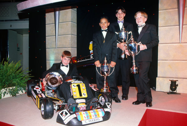 1996 Autosport Awards. Grosvenor House Hotel, London. 1st December 1996. Lewis Hamilton,Gary Paffett, Tom Sisley and Chris Rogers on the stage. World Copyright: LAT Photographic. Ref:  Colour Transparency.