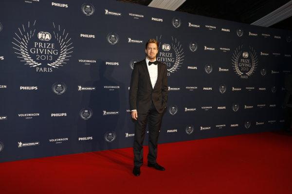 2013 FIA Gala Dinner and Awards. Paris, France. Friday 6th December 2013. Sebastian Vettel on the red carpet. World Copyright & Mandatory Credit: FIA. ref: Digital Image 11241856446_4d4f0b30a7_o