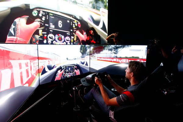 Circuit Gilles Villeneuve, Montreal, Canada. Wednesday 7 June 2017. Romain Grosjean, Haas F1 drives a lap of the Circuit Gilles Villeneuve on a simulator.  World Copyright: Hone/LAT Images ref: Digital Image _ONZ1049