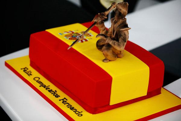 Hungaroring, Budapest, Hungary.  Saturday 29 July 2017. Birthday cake for Fernando Alonso, McLaren. World Copyright: Andy Hone/LAT Images  ref: Digital Image _ONY2062