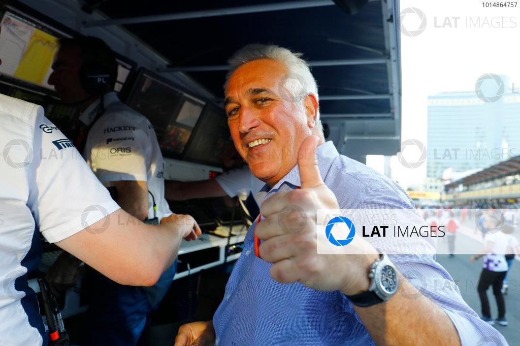 Baku City Circuit, Baku, Azerbaijan. Sunday 25 June 2017. Lawrence Stroll gives a thumbs up after his son's third place finish. World Copyright: Steven Tee/LAT Images ref: Digital Image _O3I3992