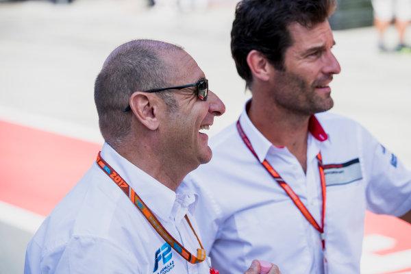 2017 FIA Formula 2 Round 5. Red Bull Ring, Spielberg, Austria. Sunday 9 July 2017. Mark Webber with Bruno Michel. Photo: Zak Mauger/FIA Formula 2. ref: Digital Image _54I0265