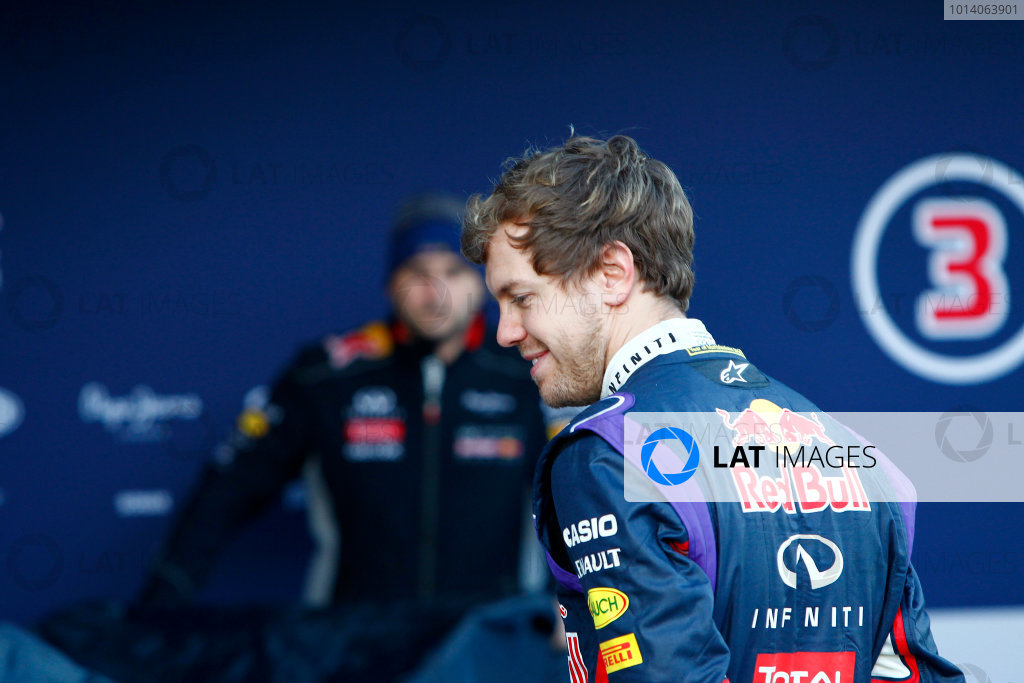 2014 F1 Pre Season Test 1 - Preview Circuito de Jerez, Jerez, Spain. Tuesday 28 January 2014. Sebastian Vettel, Red Bull Racing at the launch of the Red Bull RB10. World Copyright: Alastair Staley/LAT Photographic. ref: Digital Image _A8C7564
