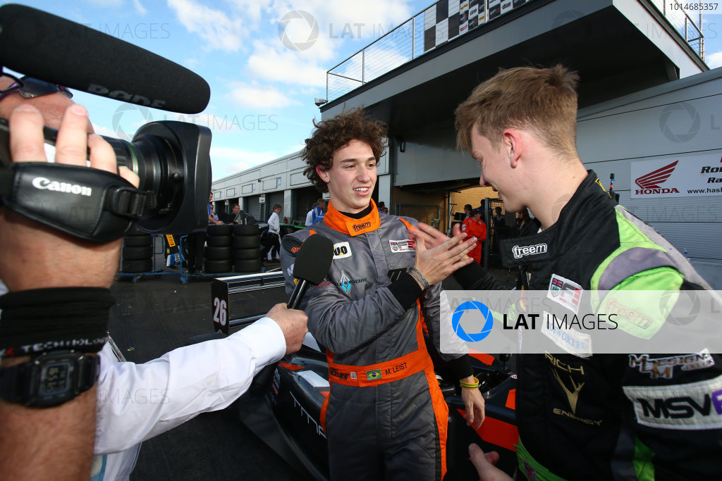 2016 BRDC F3 Championship, Donington Park, Leicestershire. 10th - 11th September 2016. Matheus Leist (BRA) Double R Racing BRDC F3 and Toby Sowery (GBR) Lanan Racing BRDC F3.  World Copyright: Ebrey / LAT Photographic.