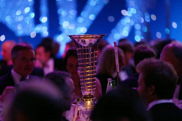 2016 Autosport Awards.  Grosvenor House Hotel, Park Lane, London. Sunday 4 December 2016.  The Formula 1 world championship trophy on the table of Nico Rosberg. World Copyright: Jed Leicester/LAT Images. ref: Digital Image JL1_9073