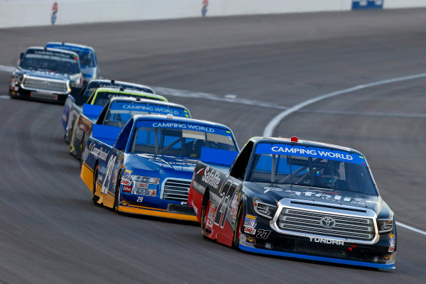 NASCAR Camping World Truck Series Las Vegas 350 Las Vegas Motor Speedway, Las Vegas, NV USA Saturday 30 September 2017 Ben Rhodes, Safelite Auto Glass Toyota Tundra and Chase Briscoe, Cooper Standard Ford F150 World Copyright: Russell LaBounty LAT Images