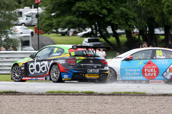 2014 British Touring Car Championship, Oulton Park, Cheshire. 7th-8th June 2104, Rob Collard (GBR) eBay Motors BMW 125i M Sport and Jason Plato (GBR) MG KX Clubcard Fuel Save MG6 GT collide World copyright:  Jakob Ebrey/LAT Photographic