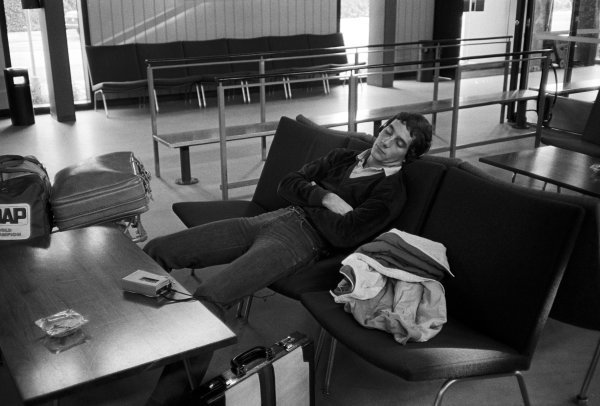 Race and championship winner Ayrton Senna (BRA) Rushen Green Racing, finds time to relax at the airport before flying from England to Denmark. EFDA Formula Ford 2000 Championship, Jyllandsring, Denmark, 22 August 1982.