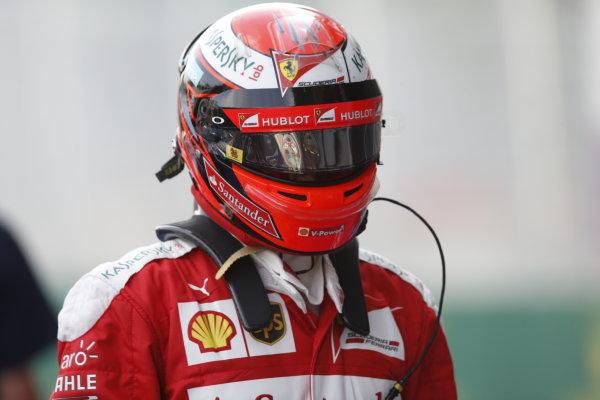 Baku City Circuit, Baku, Azerbaijan. Saturday 18 June 2016. Kimi Raikkonen, Ferrari, in Parc Ferme after Qualifying. World Copyright: Steven Tee/LAT Photographic ref: Digital Image _X0W1131
