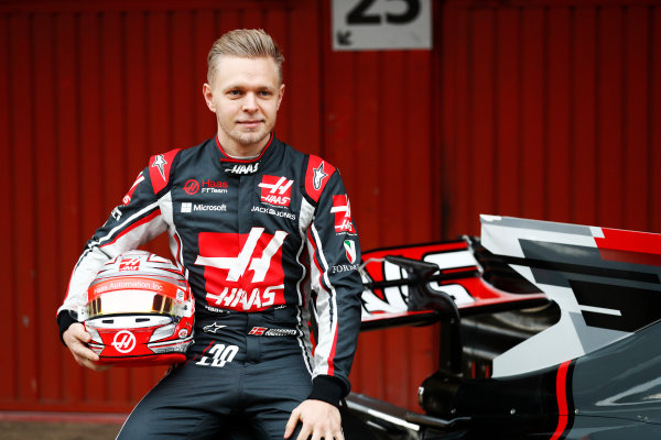 HAAS F1 Car Formula 1 Launch. Barcelona, Spain  Monday 27 February 2017. Kevin Magnussen, Haas.  World Copyright: Dunbar/LAT Images Ref: _31I9974