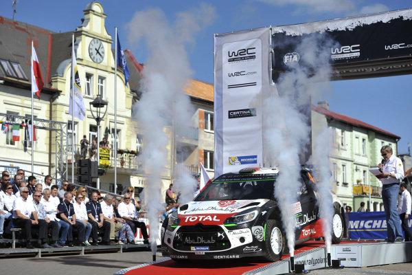 Mads Ostberg (NOR) / Jonas Andersson (SWE), Citroen DS3 WRC on the Start Ramp at FIA World Rally Championship, Rd7, Lotos 71st Rally Poland, Preparations & Shakedown, Mikolajki, Poland, Thursday 2 July 2015.