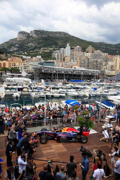 Monte Carlo, Monaco 22nd May 2013 Sebastian Vettel, Red Bull Racing meets Sebastian Ogier World Copyright: Charles Coates/LAT Photographic ref: Digital Image _X5J0712